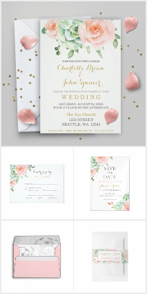 Watercolor Succulent Peach Roses Wedding Set
